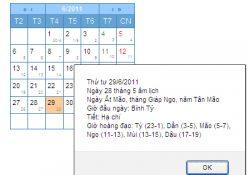 [j25] Module hiển thị lịch Việt Nam (âm lịch và dương lịch)